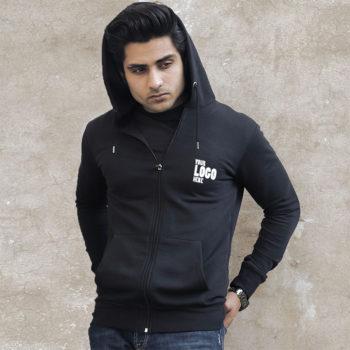 Bulk Black Zipper Hoodie with your company logo in Pakistan