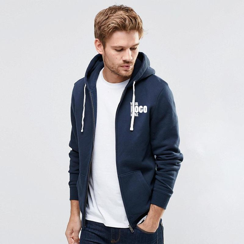 Bulk Blue Zipper Hoodie with your company logo in Pakistan